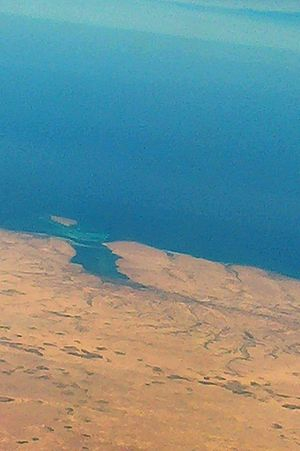 Gazala - A bay and a small island near Ain el Gazala (Aerial photo).