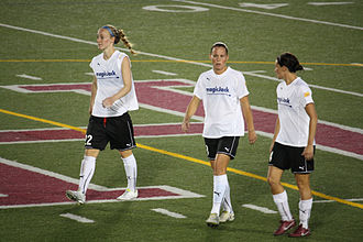 Sarah Huffman - Huffman with magicJack teammates Becky Sauerbrunn and Christie Rampone in August 2011