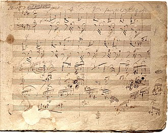 Piano Sonata No. 30 (Beethoven) - Manuscript of Op. 109 (start of the first movement)
