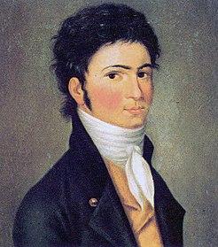 Beethoven in ritratto di C.T. Riedel verso il 1800, quando il suo talento di improvvisazione musicale e i suoi virtuosismi al piano lo rivelarono al pubblico viennese
