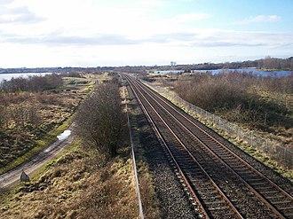 Craigavon - The Belfast–Dublin railway line between Craigavon Lakes
