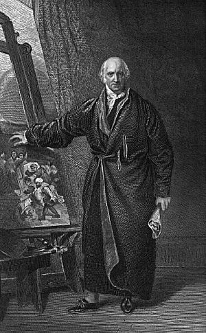 American Academy of the Fine Arts - Engraving of portrait of Benjamin West by Thomas Lawrence, 1877.