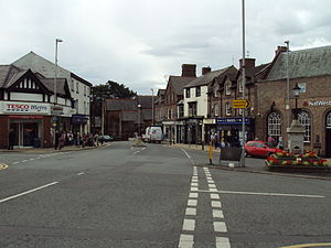 Town centre - Town centre of Neston, Cheshire, England.
