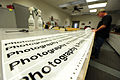 Bernard Jones, with the 509th Civil Engineer Squadron, checks a print for flaws at Whiteman Air Force Base, Mo., March 11, 2013 130311-F-EA289-211.jpg