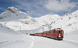 Winter scene near the top of the Bernina Pass.