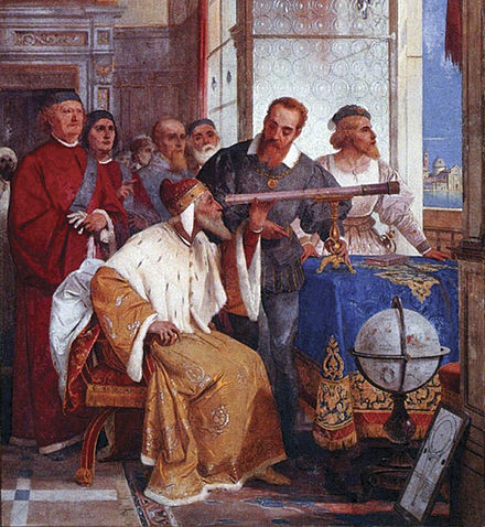 Galileo showed the Doge of Venice how to use the telescope (fresco by Giuseppe Bertini) Bertini fresco of Galileo Galilei and Doge of Venice.jpg
