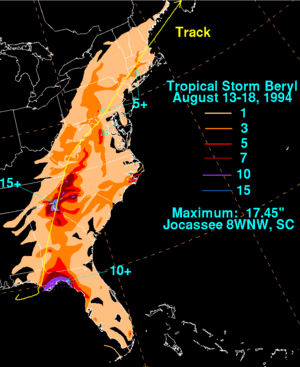 Tropical Storm Beryl (1994) - Rainfall accumulations from Tropical Storm Beryl across the Eastern United States