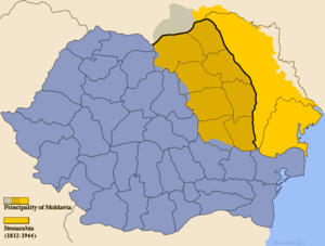 Union of Bessarabia with Romania - Bessarabia in yellow and Bukovina in grey, as a parts of Kingdom of Romania. Note: the region past the Dniester river was a part of Romania only briefly, during World War II