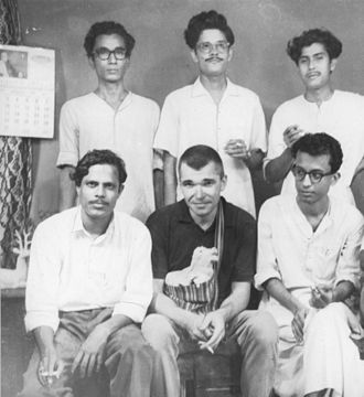 Hungry generation - Writers of Hungry generation. From the top left moving clockwise: Saileswar Ghose, Malay Roy Choudhury and Subhas Ghose Basudeb Dasgupta, David Garcia and Subimal Basak