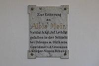 Biburg (Alling) Mariä Himmelfahrt und Heiligste Dreifaltigkeit Gedenktafel 654.jpg