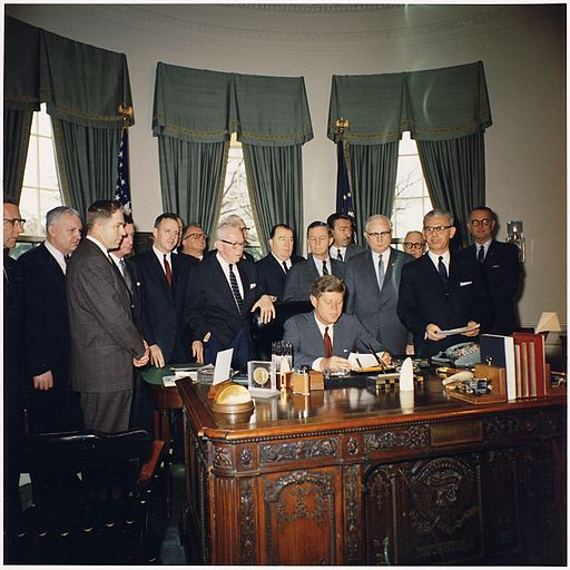 Bill Signing- Manpower Development and Training Act of 1962. President Kennedy, Secretary of Labor Arthur Goldberg... - NARA - 194205