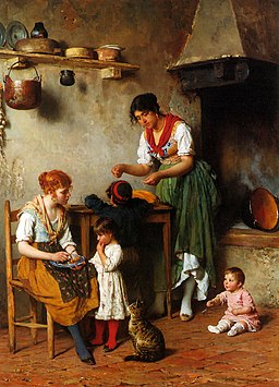 Blaas Eugen von A Helping Hand 1884 Oil On Panel