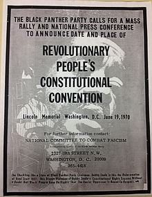 Affiche des Black Panthers appelant à la convention des Black Panthers à Washington D.C