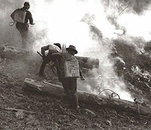 Blackwater Fire of 1937 - Firefighters use backpack water pumps and hand tools on the Blackwater Fire.