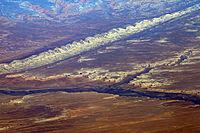 Bluff UT - aerial with San Juan River and Comb Ridge