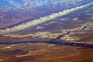 Posey War - An aerial view of Comb Ridge above Bluff, Utah and the San Juan River.
