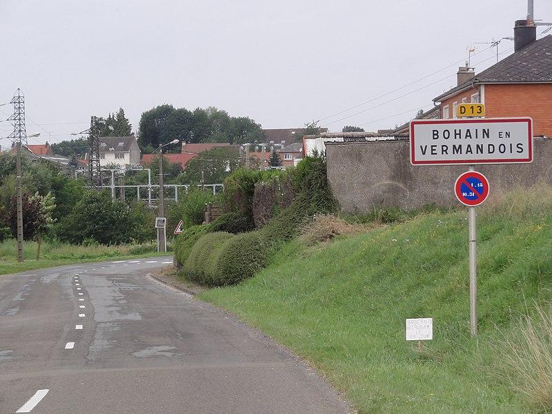 Bohain-en-Vermandois (Aisne) city limit sign