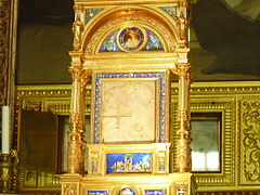 Chiesa di Santa Cristina a Bolsena: la teca contenente la tavola di marmo macchiata dal sangue del