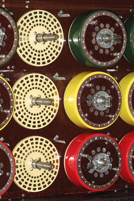 The three drums of one of the 36 Enigma-equivalents, and the mounting plates for another, showing the 104 contacts for the wire brushes on the back of the drums. The top drum corresponds to the left-hand Enigma rotor, the middle drum to the middle rotor and the bottom drum to the right-hand rotor. Bombe Drums and Mounting Plate.jpg