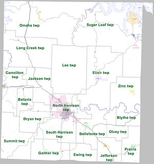 Boone County, Arkansas - Townships in Boone County, Arkansas as of 2010