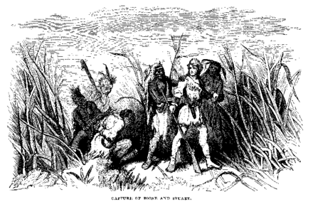 """Capture of Boone and Stuart"" from Life and Times of Col. Daniel Boone by Cecil B. Hartley (1859) Boone captured.png"