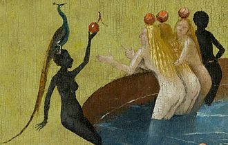 The Garden of Earthly Delights - Naked figures seek pleasure in various ways. Center panel, women with peacock (detail)