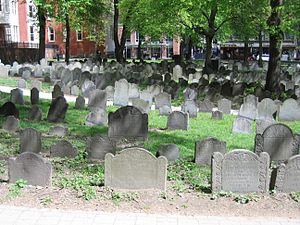 English: Boston's Granary Burial Ground where ...