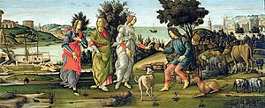 Judgement of Paris - Sandro Botticelli, c. 1485–1488. This is one of the very few versions in which all three goddesses are fully clothed.