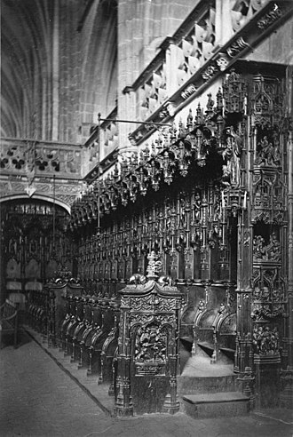 Bourg-en-Bresse - Stalls in the Brou Church, albumen print, c. 1865–1886