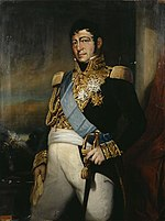 Painting of a large man from head to knees, holding a sword. He wears a dark blue military uniform with lots of gold lace at the breast and cuffs, gold epaulettes, and white breeches.