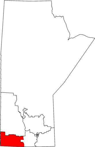 Brandon—Souris - Brandon—Souris in relation to other Manitoba federal electoral districts as of the 2013 Representation Order.