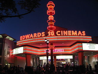 Brea, California - Edwards Cinemas movie theater in Brea downtown.