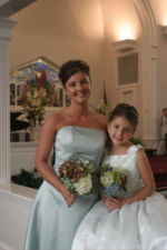 Bridesmaid and junior bridesmaid. North Carolina, U.S.A.