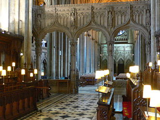 Choir (architecture) - The choir of Bristol Cathedral, with the nave seen through the chancel screen, so looking west
