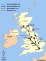 Britische Hauptlinien Eisenbahn-Diagramm Waverley Line.png