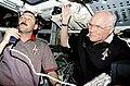 Brown and Glenn on Flight Deck Press Conference (9461016036).jpg