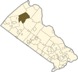 Location of Haycock Township in Bucks County