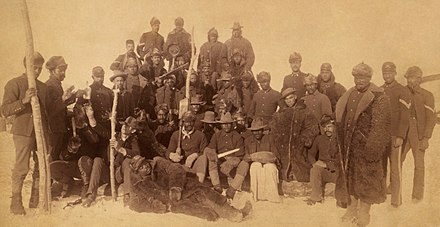 "Buffalo Soldiers, Ft. Keogh, Montana, 1890. The nickname was given to the ""Black Cavalry"" by the Native American tribes they fought. Buffalo soldiers1.jpg"