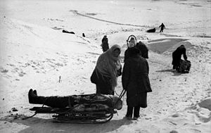 Kholm, Kholmsky District, Novgorod Oblast - Women transporting dead on sledges during the occupation of the town, May 1942