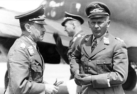 Alexander Lohr, commander of Luftflotte 4 (left) and Wolfram von Richthofen, commander of VIII. Fliegerkorps in February 1942. Bundesarchiv Bild 101I-452-0985-36, Russland, Generale Lohr und W. v. Richthofen.jpg