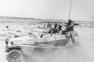 "Sd.Kfz. 250 - Rommel amidst advancing units in his Sd.Kfz. 250 command vehicle ""GREIF"" (Engl. 'Griffin')."