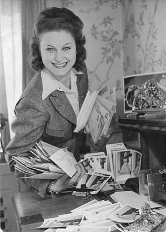 Nazism and cinema - Marika Rökk with fan mail, c. 1940.