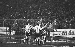 1985–86 European Cup Winners' Cup - Frank Lippmann celebrates scoring Dresden's first goal against Uerdingen, with (L-R) Jörg Stübner, Matthias Döschner and Andreas Trautmann
