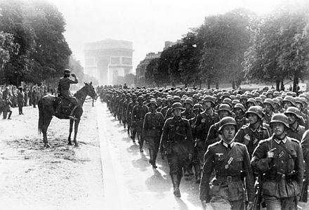 German soldiers march near the Arc de Triomphe in Paris, 14 June 1940 Bundesarchiv Bild 183-L05487, Paris, Avenue Foch, Siegesparade.jpg
