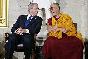 English: President George W. Bush and The Dala...