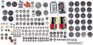 Silver-oxide battery - Several sizes of button and coin cells, some of which are silver oxide.