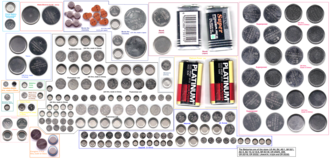 Alkaline battery - Several sizes of button and coin cells. Some are alkaline and others are silver oxide. Two 9 V batteries were added as a size comparison. Enlarge to see the size code markings.
