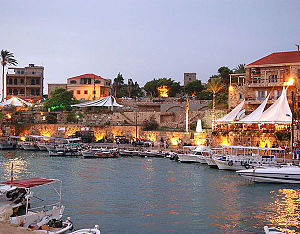Byblos - Byblos harbor by night