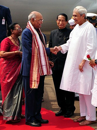 Ram Nath Kovind - President Kovind with Chief Minister of Odisha Naveen Patnaik at Biju Patnaik International Airport