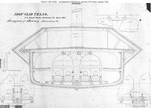 Technical drawing tool - The ship's steam machinery installation drawing for the iron-clad CSS ''Texas'', 1865